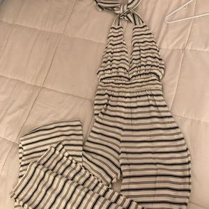 white and navy blue striped jumper/romper
